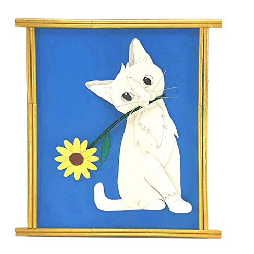 TWAKSATI Handmade White CAT 3D Effect CRAFTWORK Home Decor