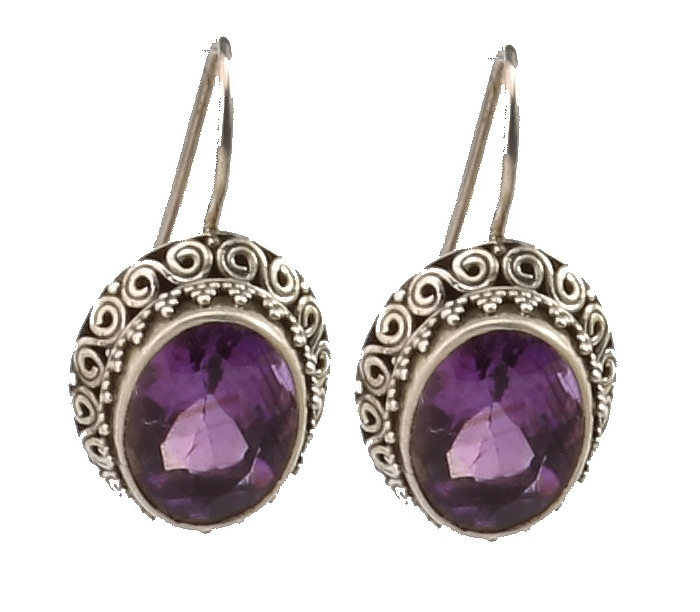 Silver Filigree Purple Amethyst Earring