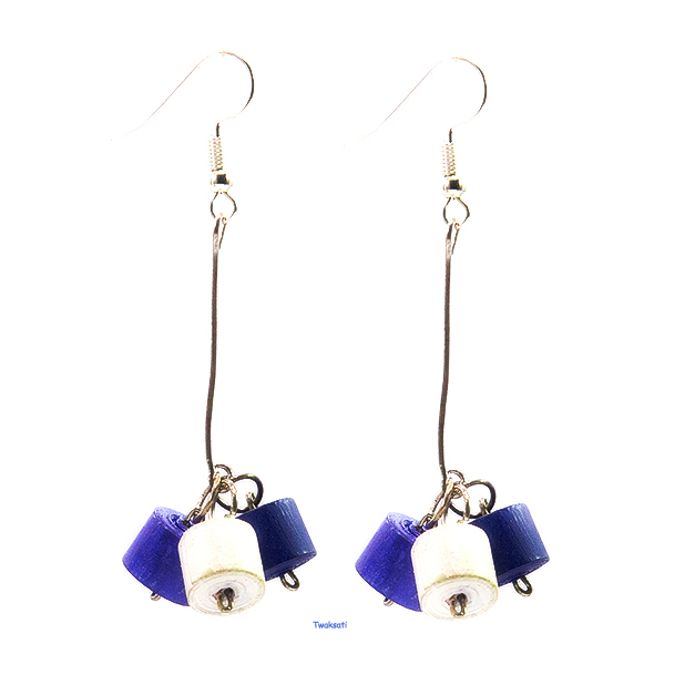 Blue and White Long Earring