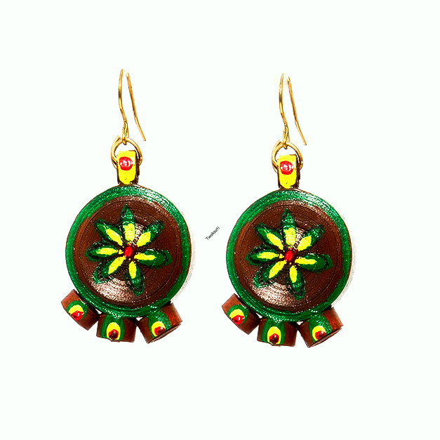 Earthy Flower Drop Earring