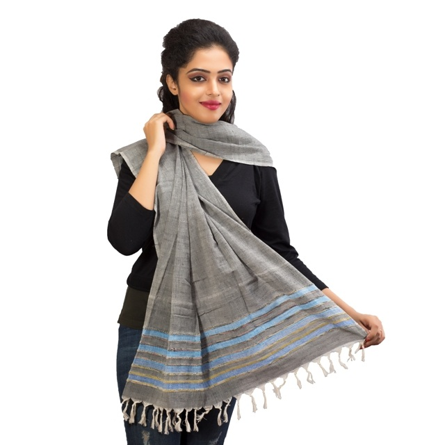 Twaksati Grey Khesh Dupatta