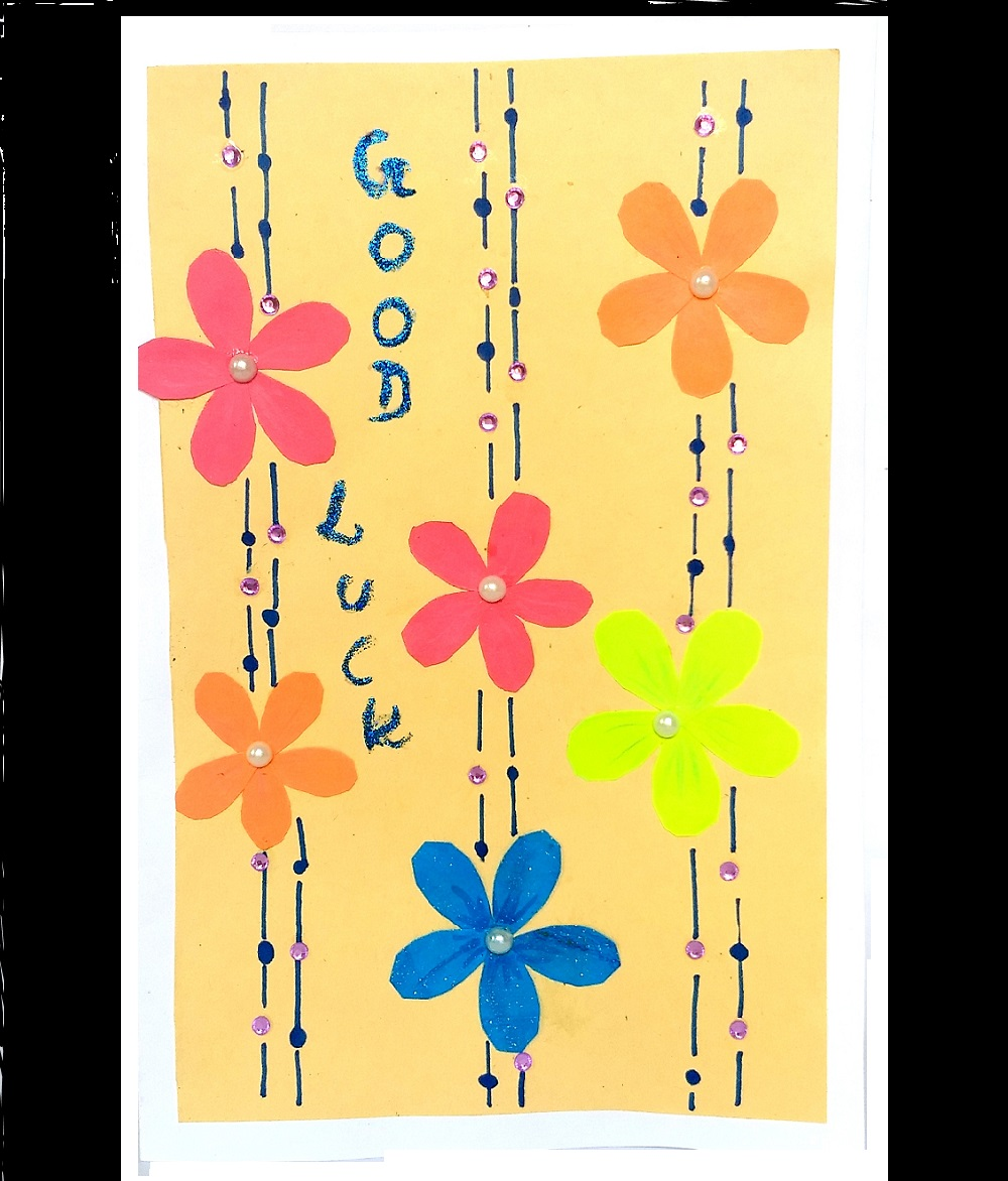 Handmade Good Luck Flower Large Greeting Card
