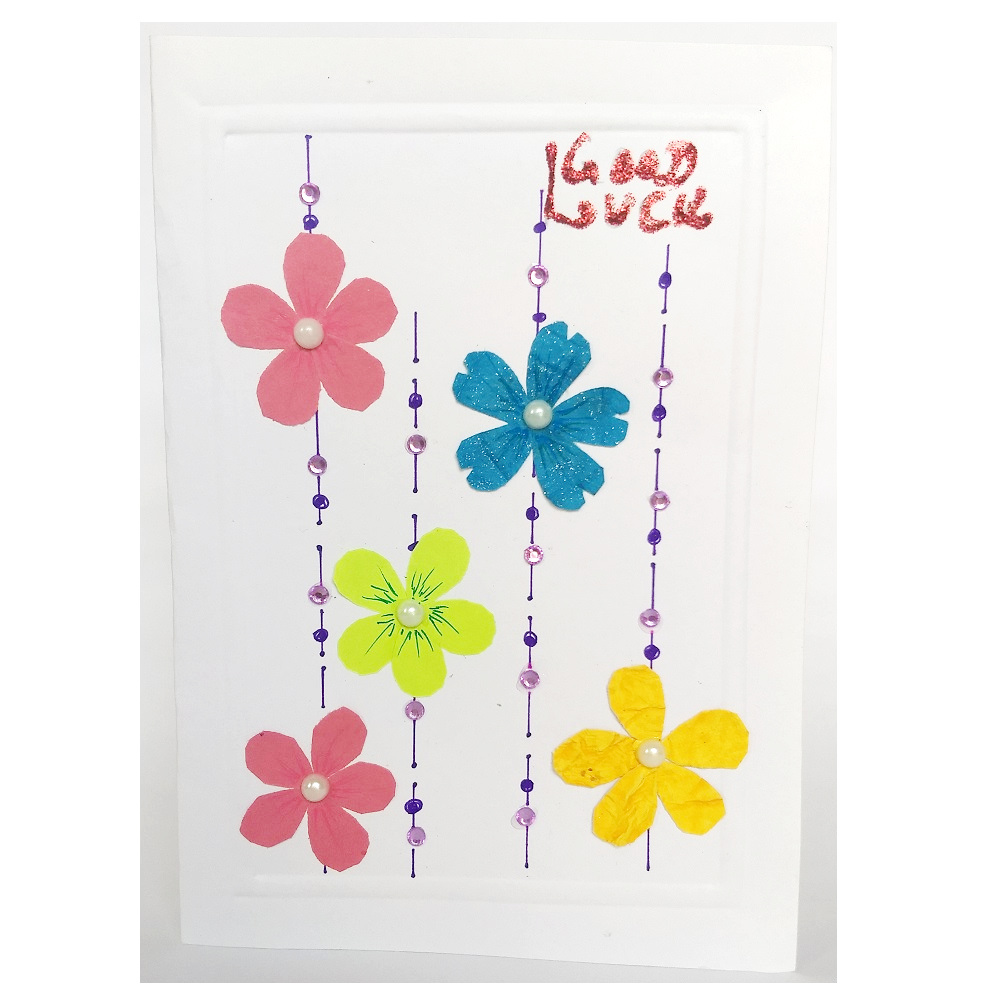 Handmade Good Luck Flower Small Greeting Card
