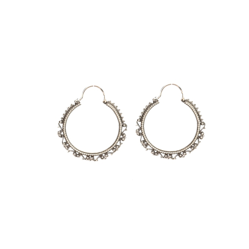 Silver Hoop Filigree Earring