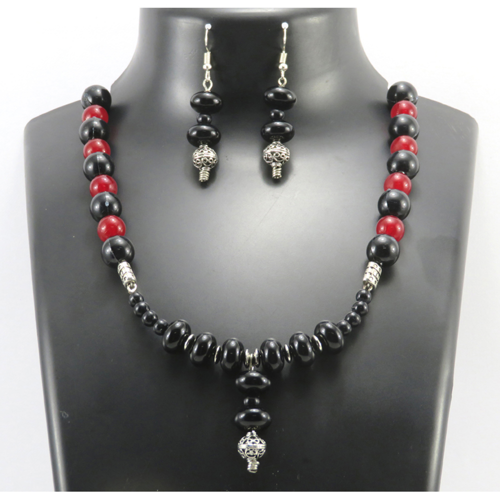 Twaksati Handmade Red & Black Beads Necklace and Earring set