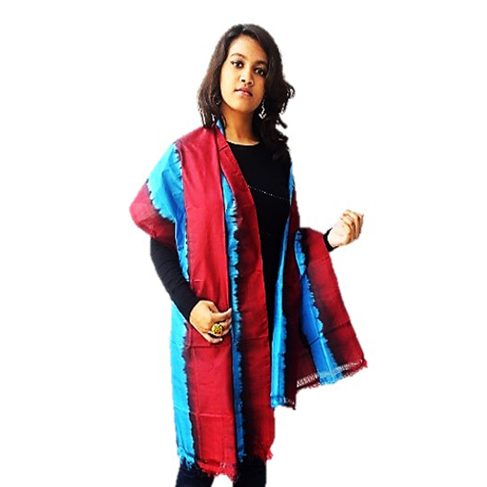 Striped Silk Maroon Blue Dupatta or Stole