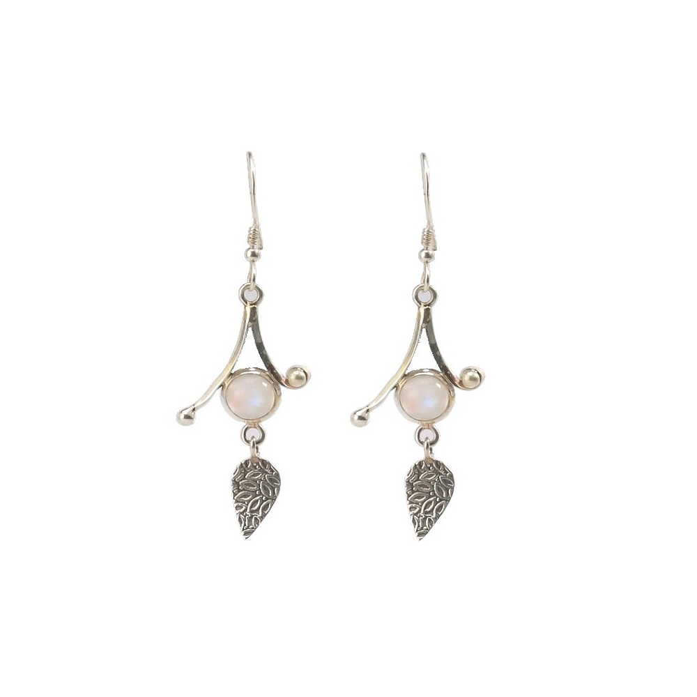 Silver carved leaf with moonstone Earring