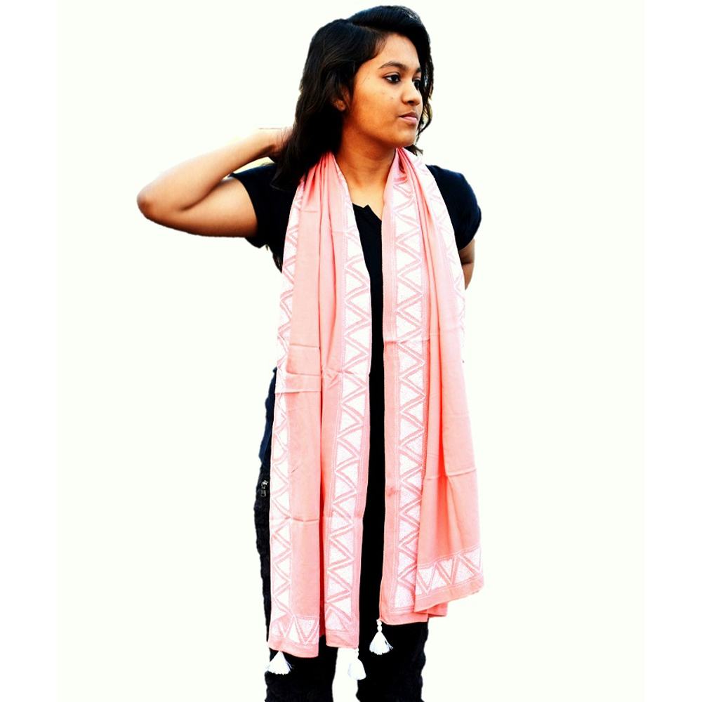 Peach Pink Kantha Cotton Stole