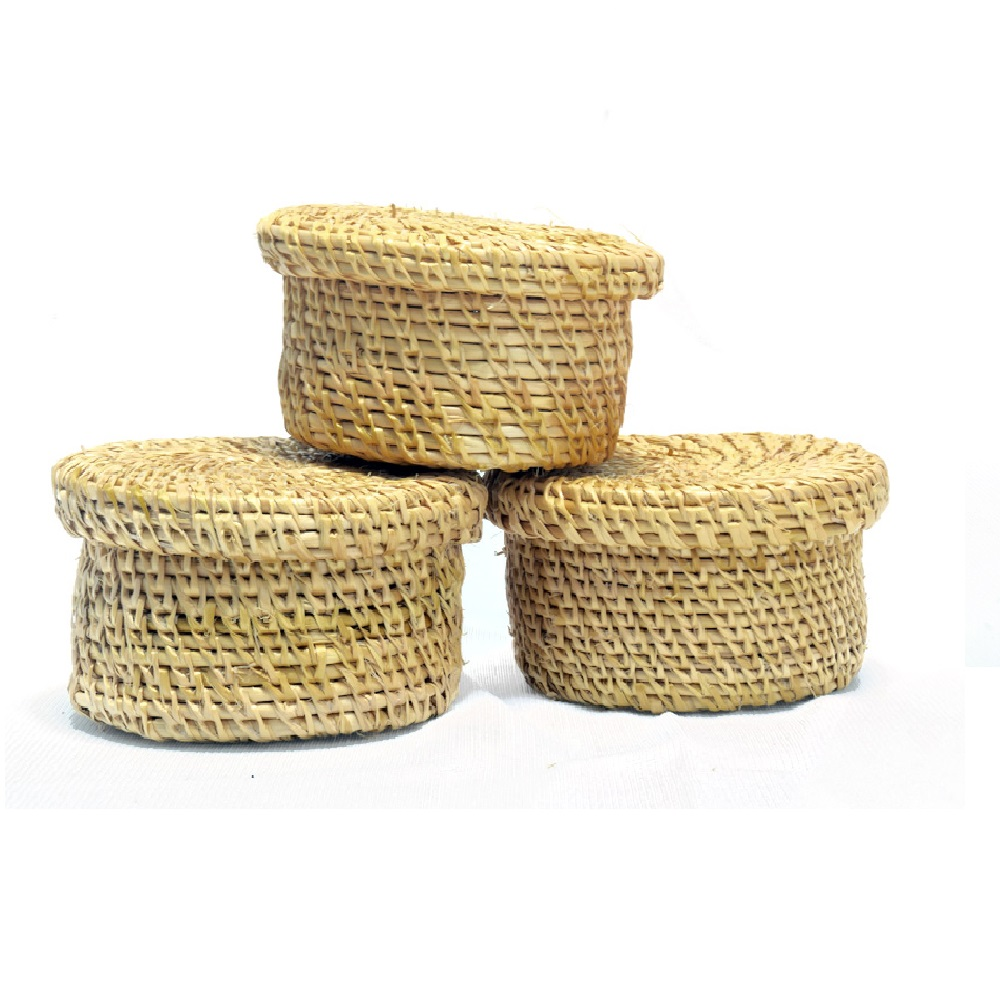 Sabai Grass Small Round Box- Set of 3