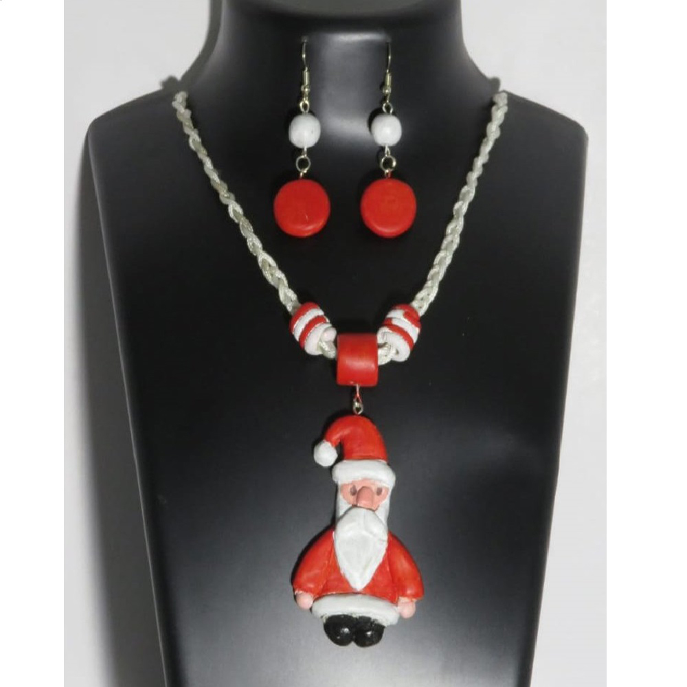 Santa Earring & Necklace set for Christmas