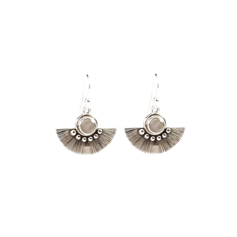 Silver Antique Jhoomla moonstone Earring