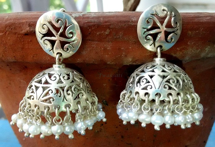 Silver Sultry carved Jhumka