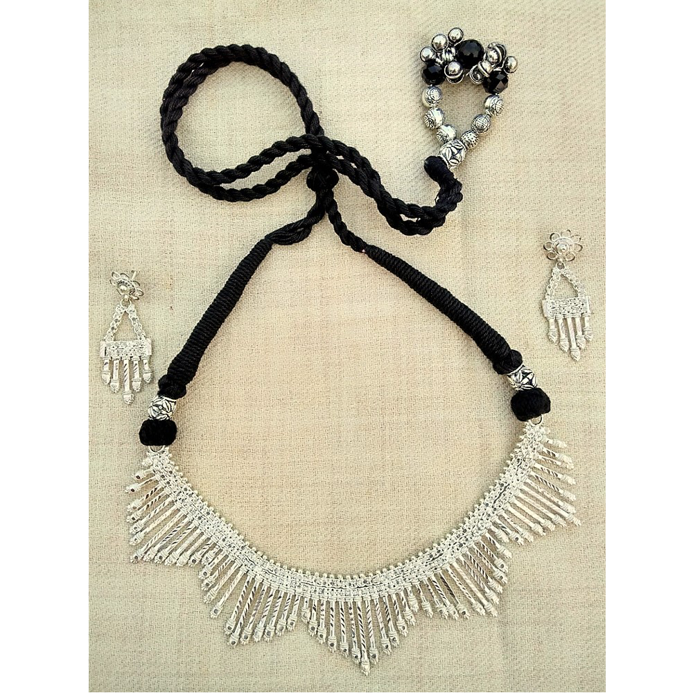 Silver Trans Neckpeice with Earring set