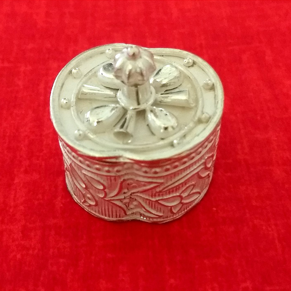 Silver Hand carved Tiny Box- pull lid