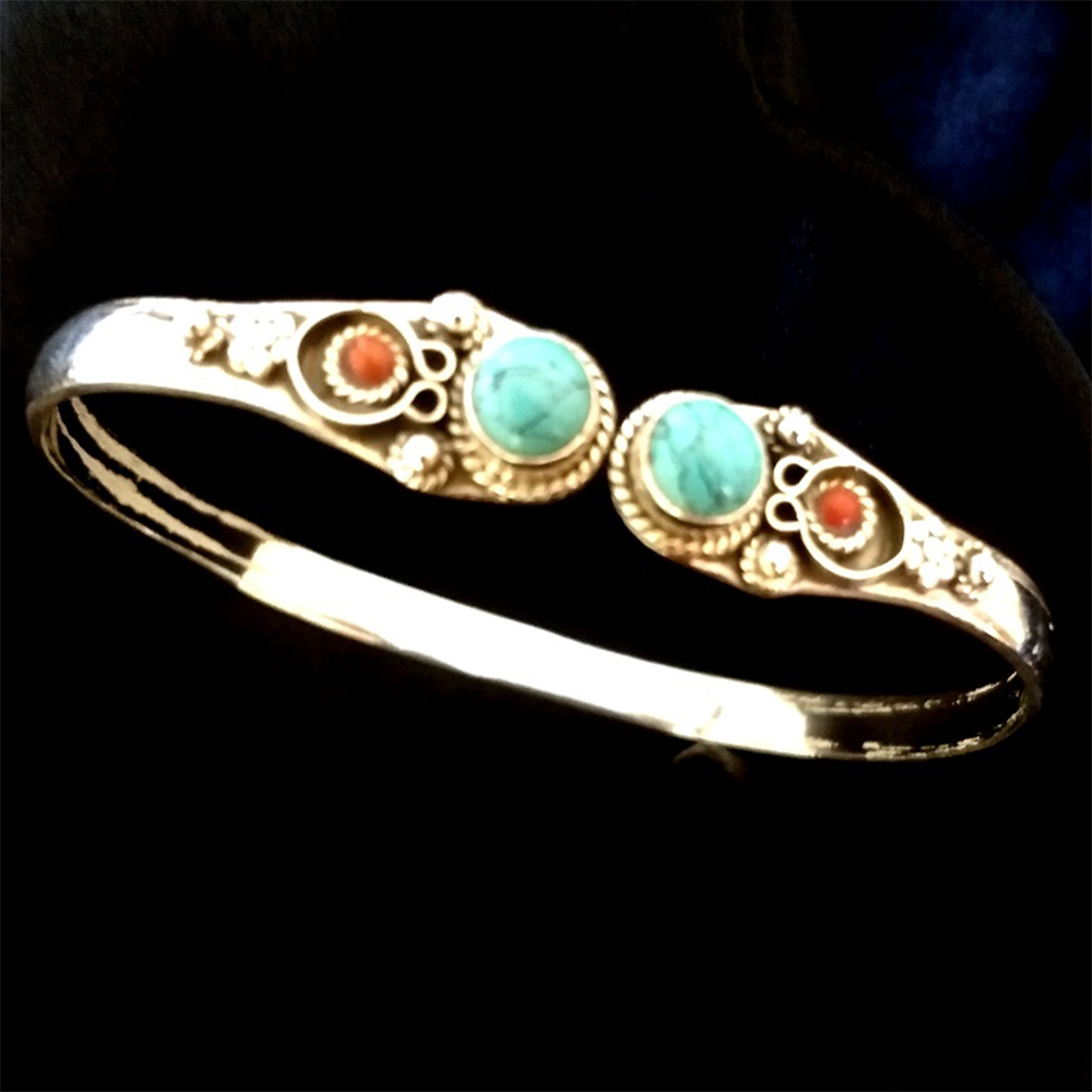 Silver Bracelet with twin Turquoise stone
