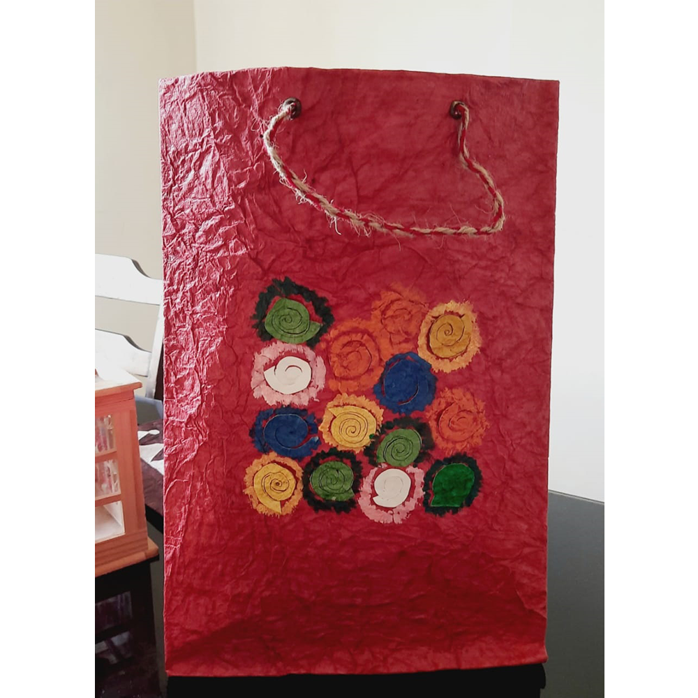 RED WITH LITTLE FLOWERS PAPER BAG
