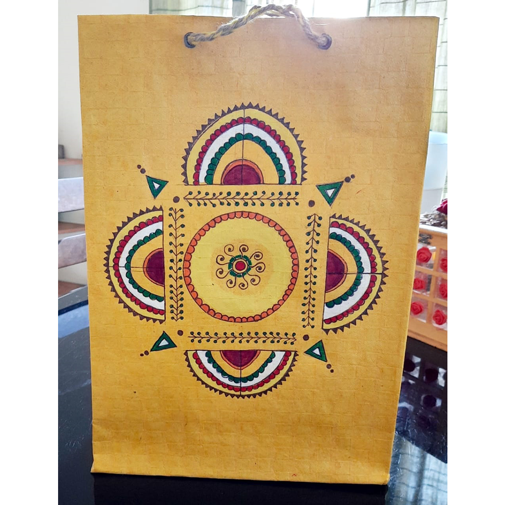 YELLOW FOLK ART PAPER BAG