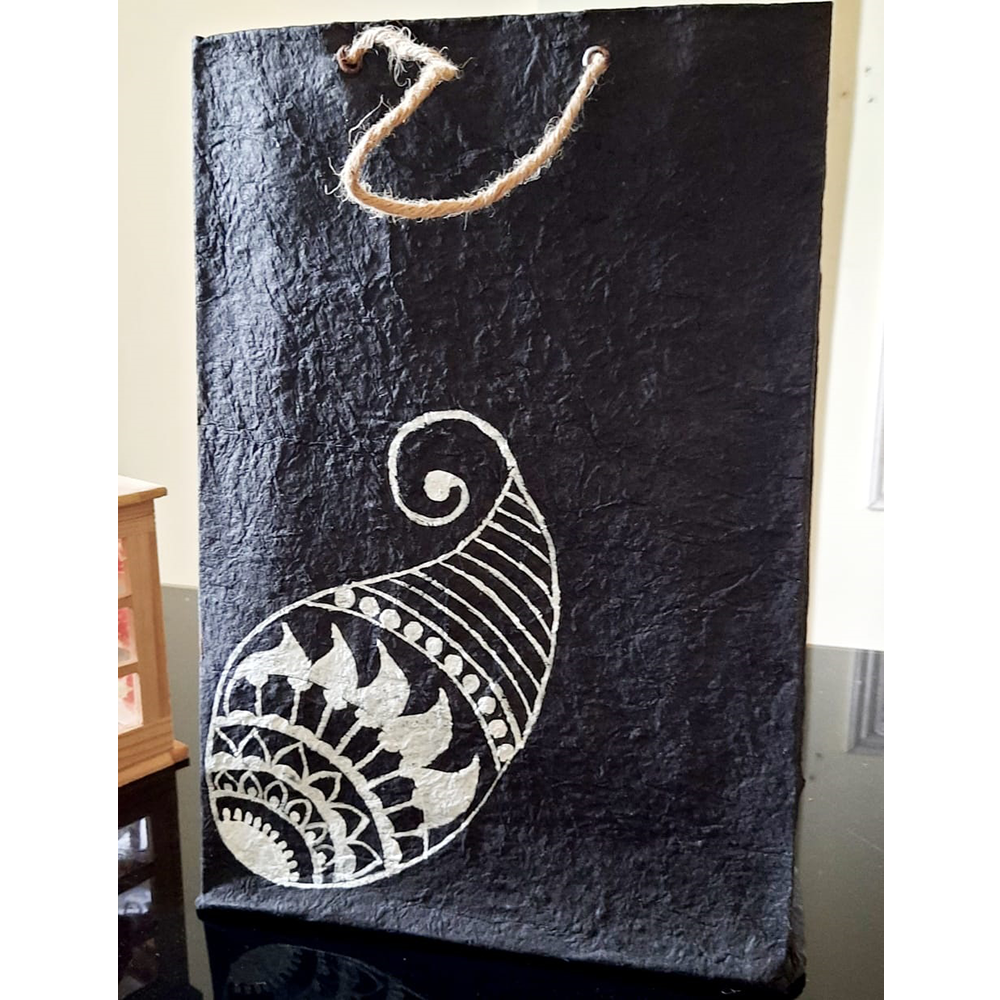 BLACK WITH WHITE PAISLEY PAPER BAG