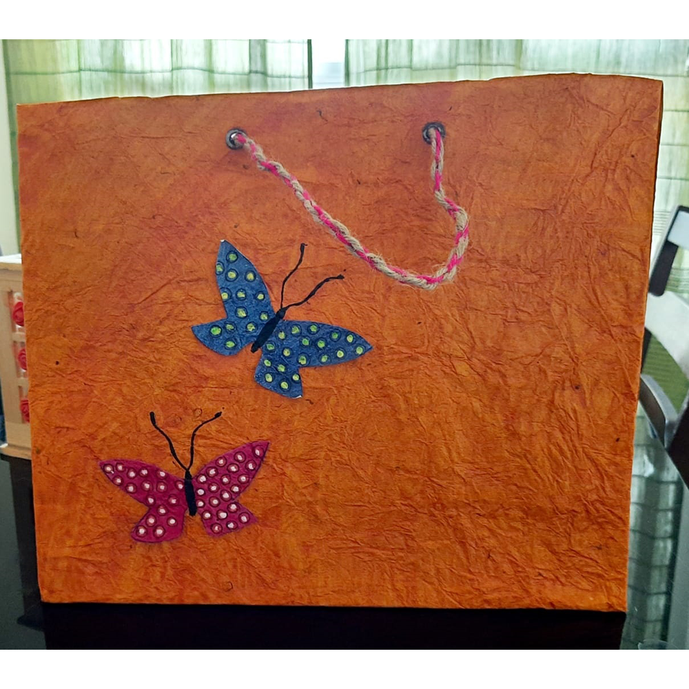 ORANGE WITH TWO BUTTERFLY PAPER BAG