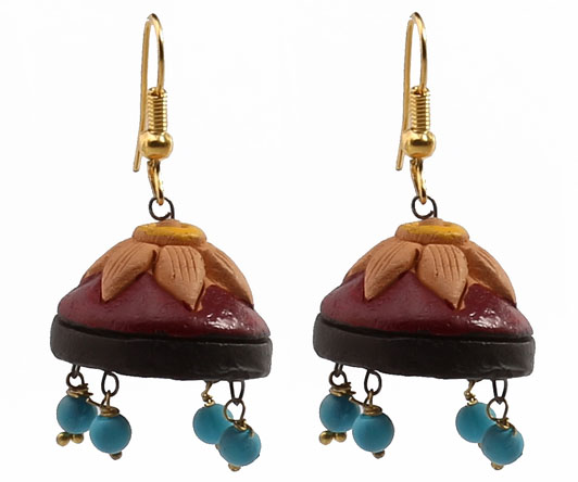 Terracotta maroon lotus earring