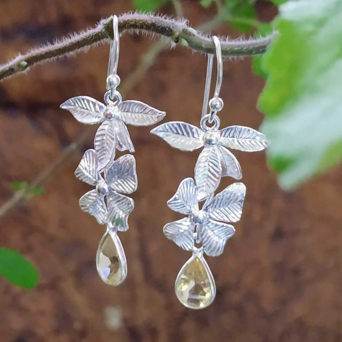 Silver Two Flowers and Citrine Stone Drop Earrings