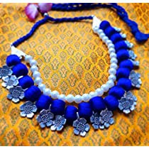 BLUE BEADS, PEARLS AND SILVER ALLOY FLOWERS NECKLACE SET