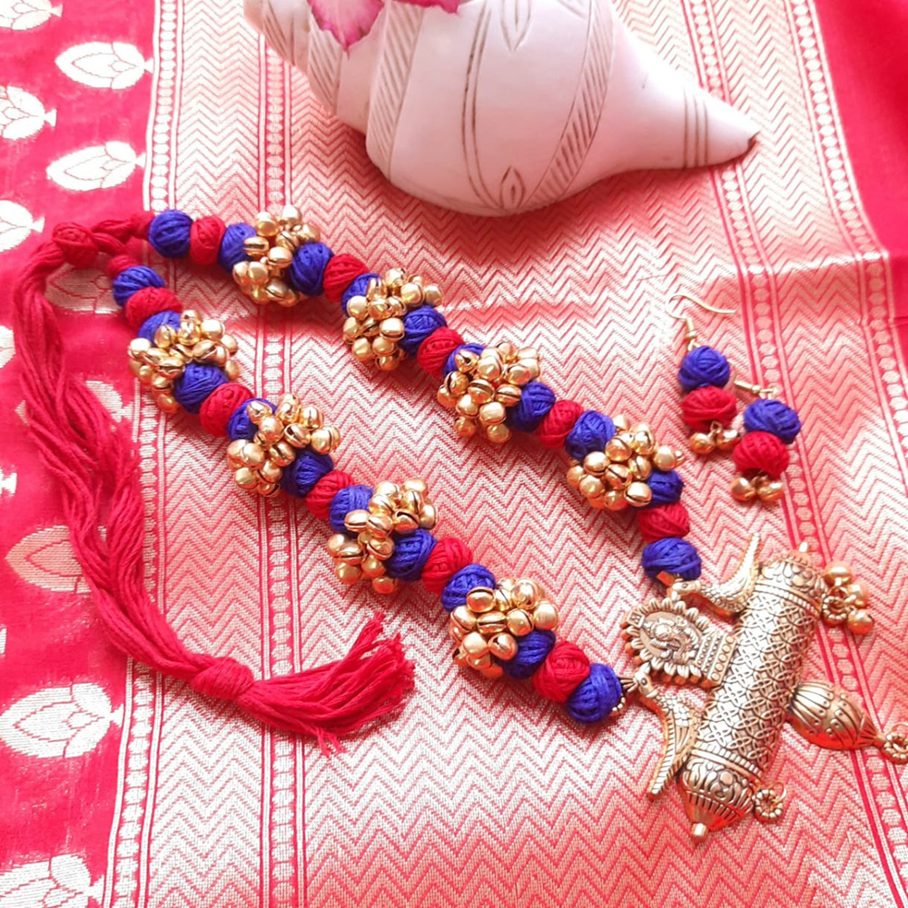 RED BLUE MANGALSUTRA PENDANT NECKLACE