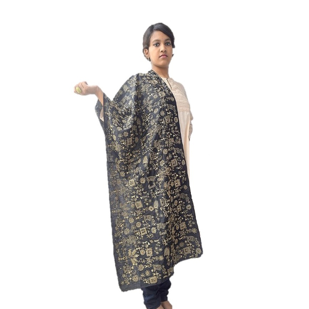Black Kantha n Worli Silk Dupatta or stole