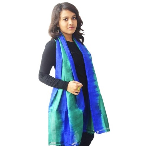 Striped Blue Green Silk Dupatta or Stole