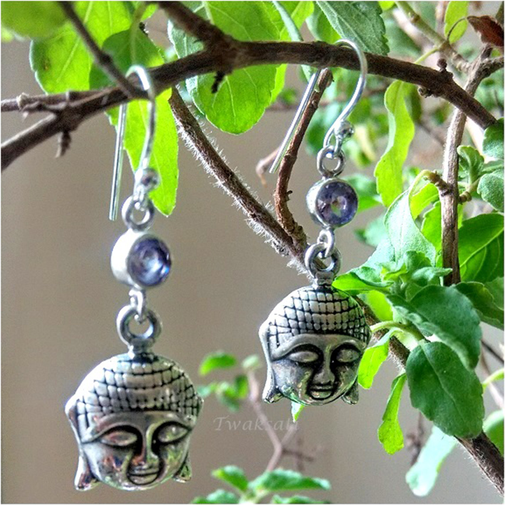 Little Buddha Silver Earring - Purple Stone