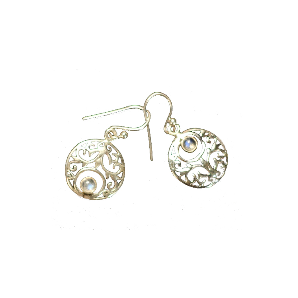 Silver up and down filigree earring