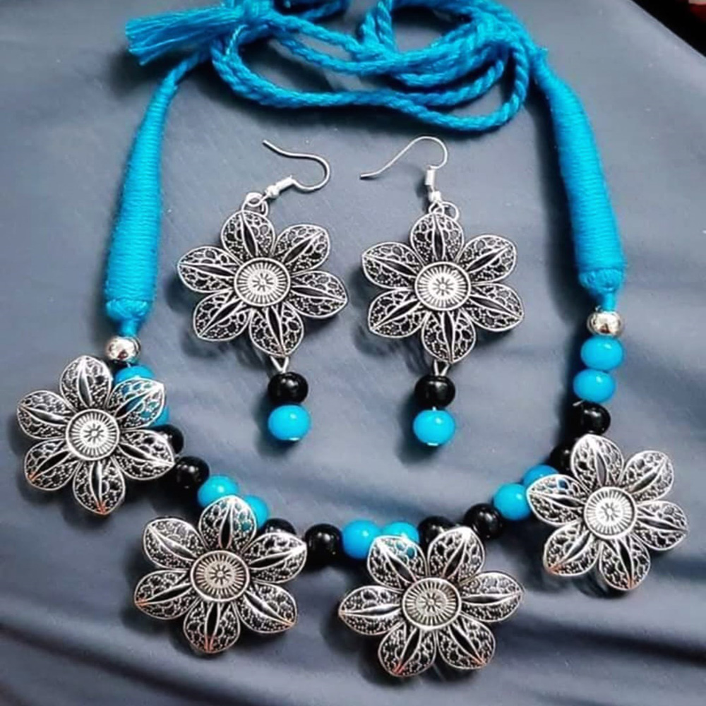 BLUE BEADS AND FLOWER NECKLACE AND EARRING SET