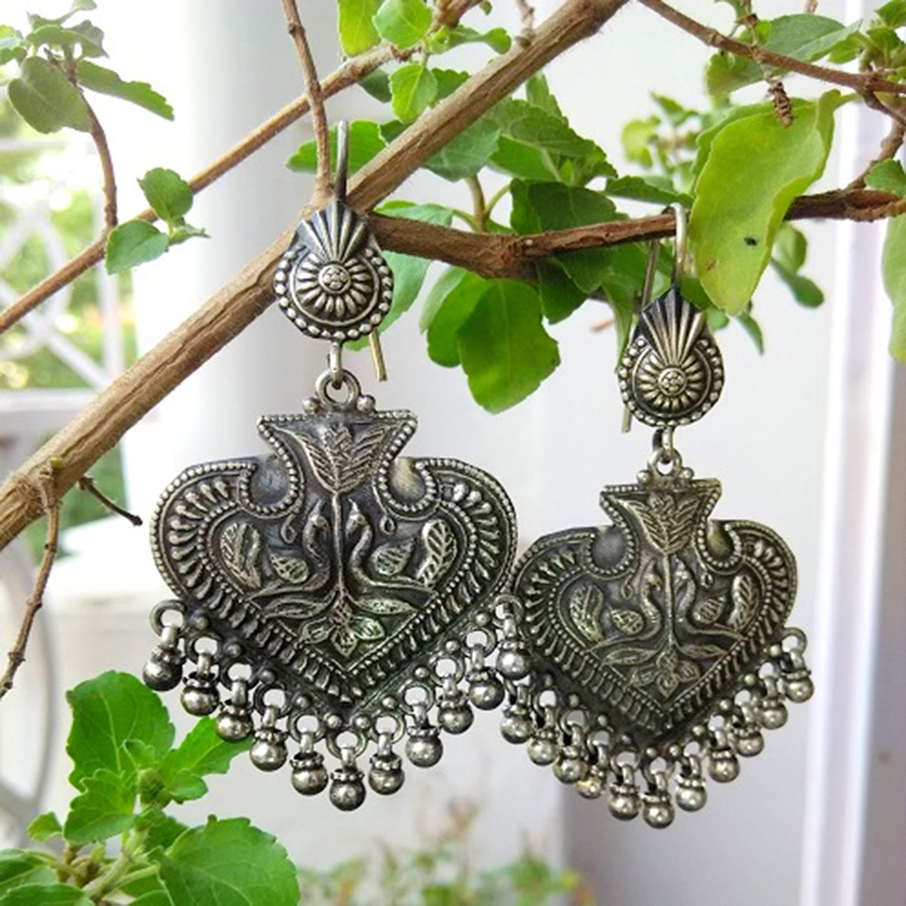 Silver Carved Ethnic Earrings